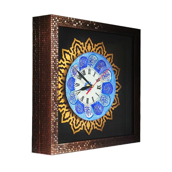 ساعت چوبی معرق با بشقاب مینا کاری